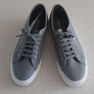 Superga Grey Canvas Platform Sneakers